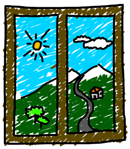 Window looking out cartoon